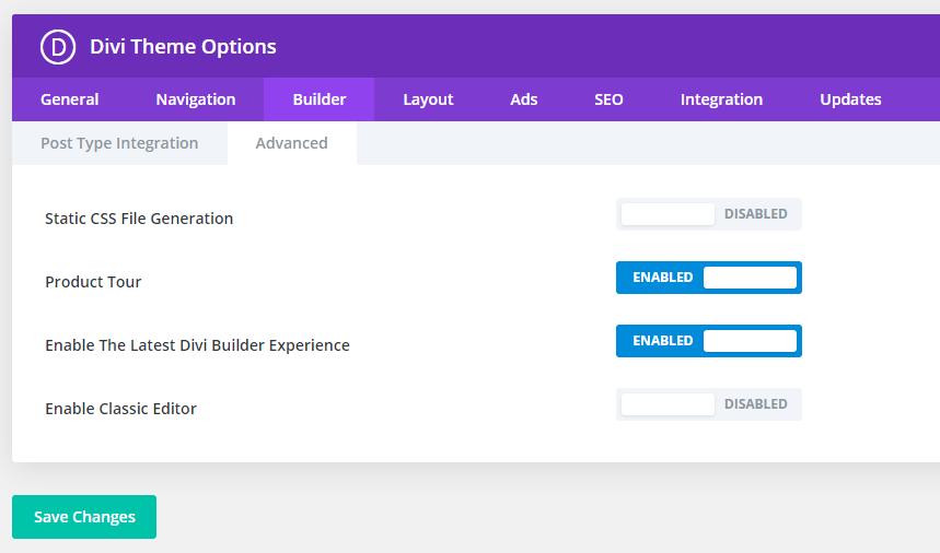 Builder settings disabled